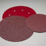 Carborundum 8 Inch 8 Hole Red Hook and Loop Discs Grits 40 and 80