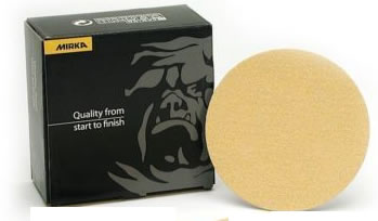 Gold 5 Inch No Hole PSA Heavy Duty  36-60 Grit Sanding Discs by Mirka Abrasives
